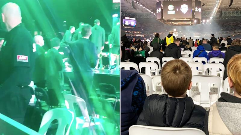 Pictured here, the views many fans had for the ill-fated Boomers exhibition match against Team USA.