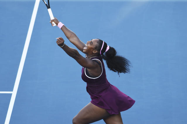 United States Serena Williams celebrates winning her finals singles match against United States Jessica Pegula at the ASB Classic in Auckland, New Zealand, Sunday, Jan. 12, 2020. (Chris Symes/Photosport via AP)