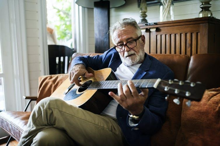 Image of a man playing the guitar.