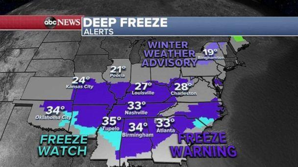 PHOTO: Temperatures Thursday morning are near freezing in Mississippi, Alabama and Georgia.   (ABC News)