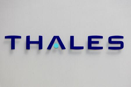 FILE PHOTO - The logo of French defence and electronics group Thales is seen at the company's headquarters in Neuilly, near Paris, May 20, 2008. REUTERS/Charles Platiau/File Photo