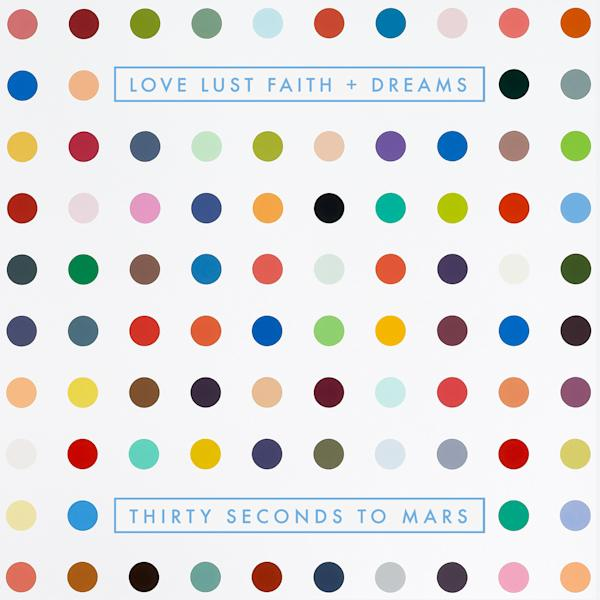"This album cover released by Virgin/EMI shows the upcoming release by Thirty Seconds to Mars, ""Love, Lust, Faith + Dreams."" The new album will be available May 21. (AP Photo/Virgin/EMI)"