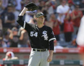 Chicago White Sox relief pitcher Ross Detwiler reacts as Los Angeles Angels designated hitter Shohei Ohtani rounds the bases after hitting a two-run home run during the seventh inning of a baseball game in Anaheim, Calif., Sunday, Aug. 18, 2019. (AP Photo/Alex Gallardo)
