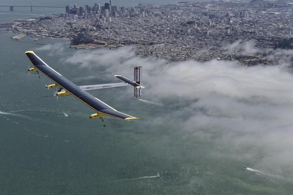 The Solar Impulse plane is pictured here on a flight over San Francisco, Calif.