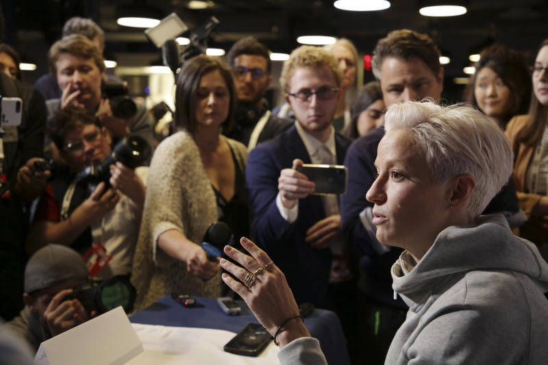 Megan Rapinoe, a member of the United States women's national soccer team, speaks to reporters during a media day in New York, Friday, May 24, 2019. (AP Photo/Seth Wenig)