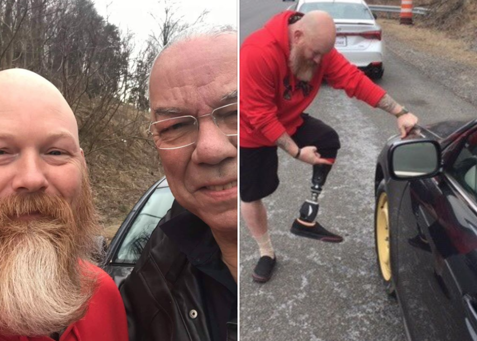 Retired Gen. Colin Powell shared a heartwarming story about a veteran, who lost a leg in Afghanistan, helping him change his flat tire. (Photo: Facebook)