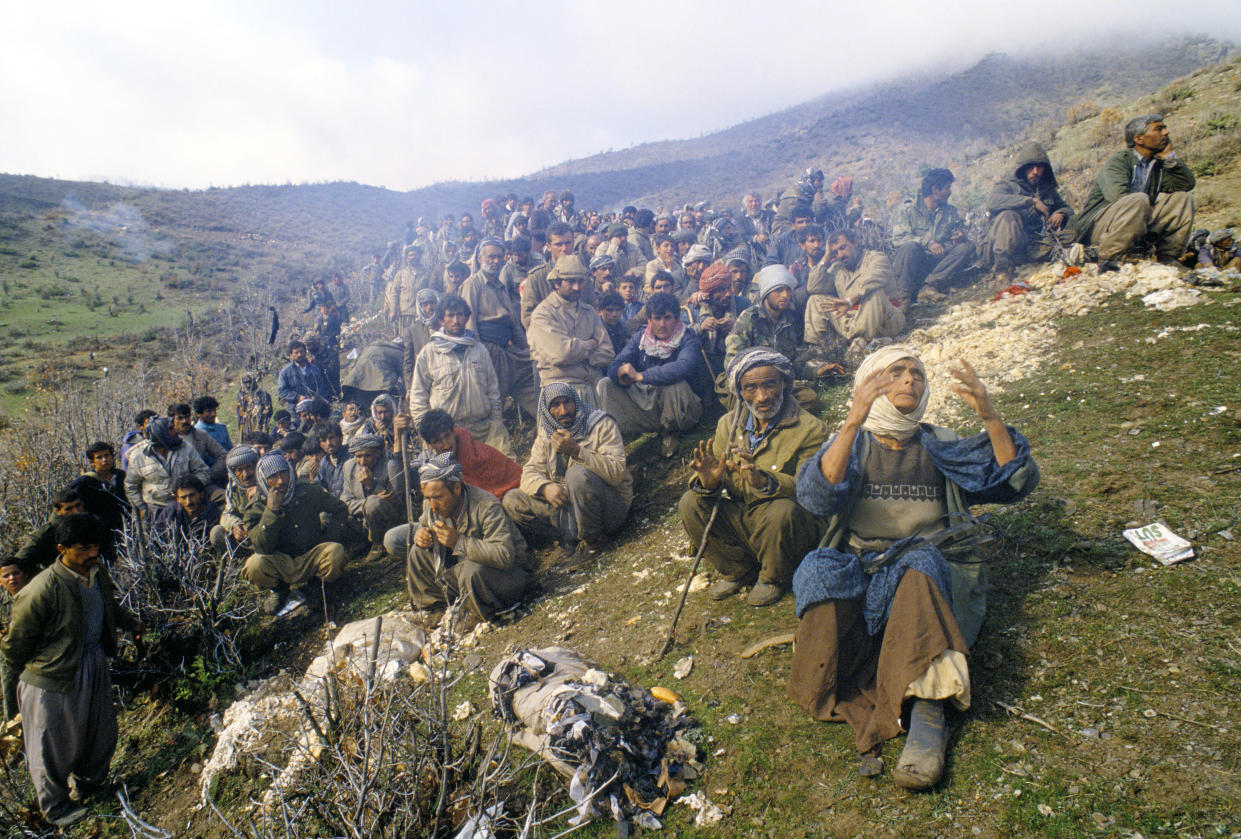 At the end of the Gulf War, after an Iraqi Kurdish uprising against Saddam Hussein was brutally suppressed, hundreds of thousands fled into the mountains bordering Turkey, where they were held in a makeshift refugee camp. (Photo: Roger Hutchings/In Pictures Ltd./Corbis via Getty Images)
