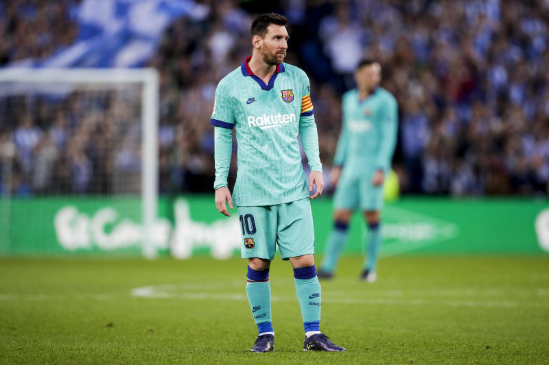 SAN SEBASTIAN, SPAIN - DECEMBER 14: Lionel Messi of FC Barcelona during the La Liga Santander match between Real Sociedad v FC Barcelona at the Estadio Anoeta on December 14, 2019 in San Sebastian Spain (Photo by David S. Bustamante/Soccrates/Getty Images)