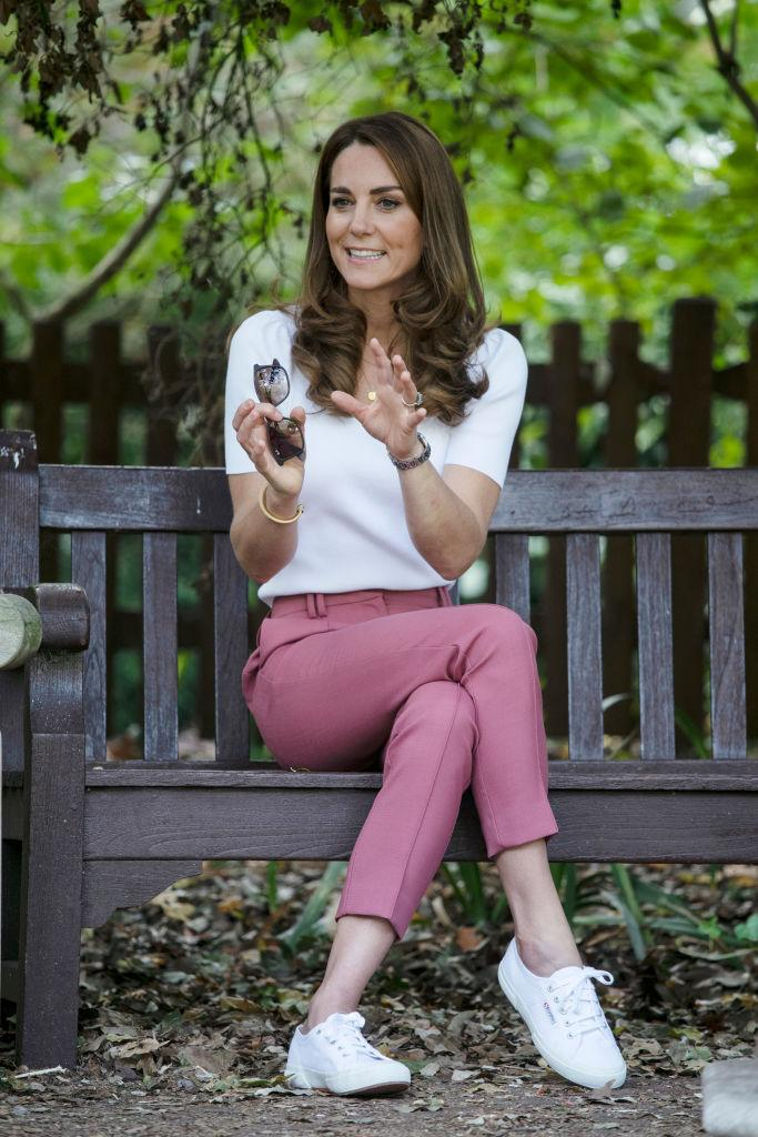 The Duchess of Cambridge wearing Superga canvas sneakers. (Image via Getty Images)