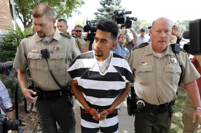 Cristhian Bahena Rivera is escorted into the Poweshiek County Courthouse for his initial court appearance, Aug. 22, 2018, in Montezuma, Iowa. (Photo: Charlie Neibergall/AP)