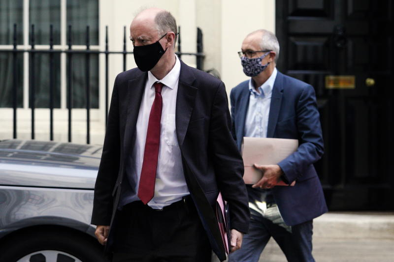 Chief medical officer for England Chris Whitty (left) and chief scientific adviser Patrick Vallance leave Downing StreetEPA