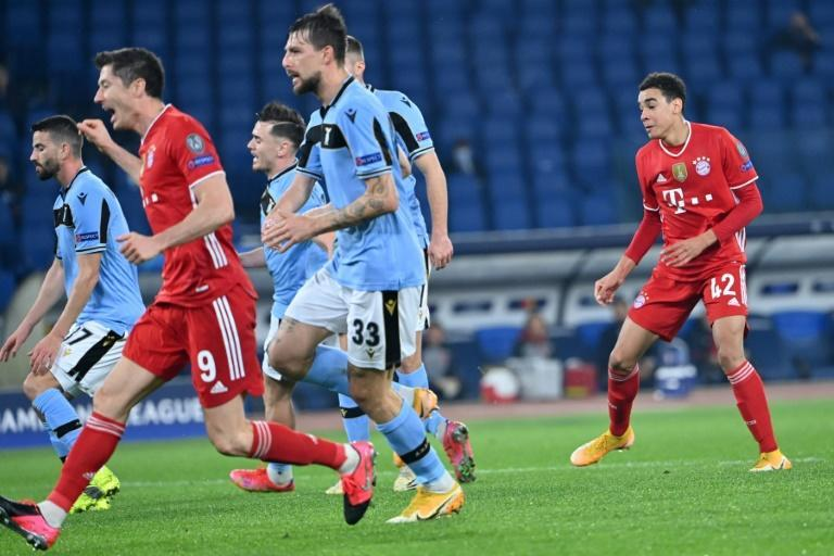 Jamal Musiala (R) reacts after scoring his first Champions League goal at Lazio last month