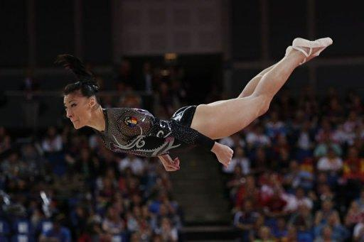 Romania's gymnast Catalina Ponor performs during the women's floor exercise final of the artistic gymnastics event of the London Olympic Games at the 02 North Greenwich Arena in London. Alexandra Raisman of the US won gold, Ponor took silver and Russia's Aliya Mustafina got bronze