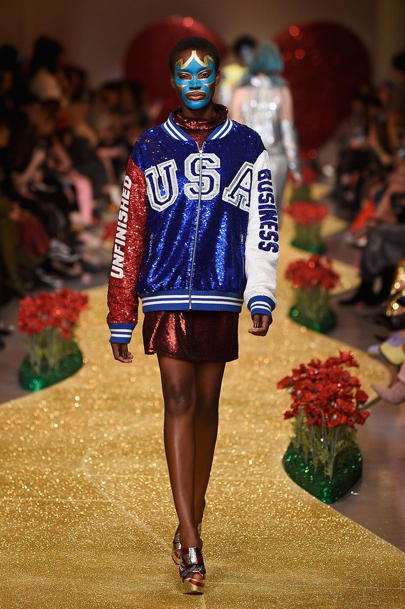 """<p>During London Fashion Week, designer Ashish Gupta included in his collection a series of Major League Baseball-inspired looks. Several pieces are stamped with statements like """"unfinished business"""" and, in a separate look, reference President Donald Trump's preferred communication tool: Twitter. (Photo: Getty Images) </p>"""