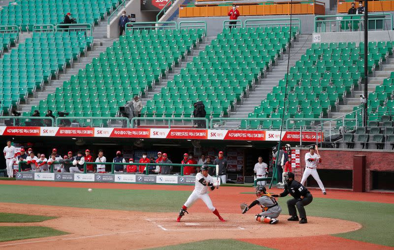 Baseball: South Korea league kicks off with 'socially distant' first pitch - but no fans