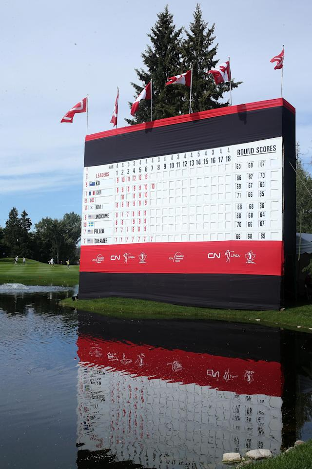 EDMONTON, AB - AUGUST 25: A general view of the scoreboard by the 18th green during the final round of the CN Canadian Women's Open at Royal Mayfair Golf Club on August 25, 2013 in Edmonton, Alberta, Canada. (Photo by Stephen Dunn/Getty Images)