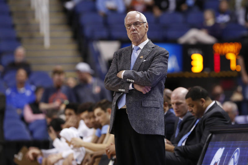 North Carolina head coach Roy Williams reacts during the second half of an NCAA college basketball game against Syracuse at the Atlantic Coast Conference tournament in Greensboro, N.C., Wednesday, March 11, 2020. (AP Photo/Ben McKeown)