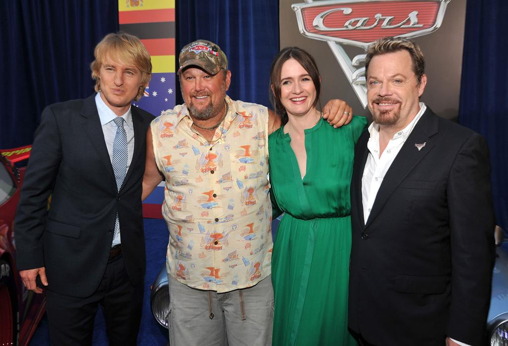 "<a href=""http://movies.yahoo.com/movie/contributor/1800019255"">Owen Wilson</a>, <a href=""http://movies.yahoo.com/movie/contributor/1809085848"">Larry the Cable Guy</a>, <a href=""http://movies.yahoo.com/movie/contributor/1800265683"">Emily Mortimer</a> and <a href=""http://movies.yahoo.com/movie/contributor/1800019198"">Eddie Izzard</a> at the Los Angeles premiere of <a href=""http://movies.yahoo.com/movie/1810015860/info"">Cars 2</a> on June 18, 2011."