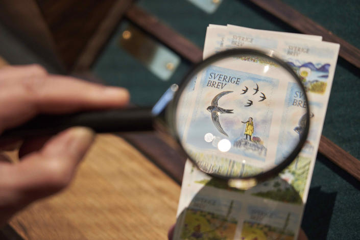 Swedish teenage environmental activist Greta Thunberg appears on a postal stamp in her native Sweden that is part of a series focusing on the environment, as seen through a magnifying glass, in Stockholm, Wednesday, Jan. 13, 2021. One of the stamps features teenage environmental activist Greta Thunberg in her trademark yellow raincoat with her braid blowing in the wind and standing a top a hill. (AP Photo/David Keyton)