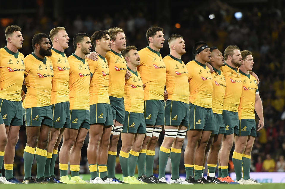 Wallabies line up during the 2020 Tri-Nations match between the Australian Wallabies and the New Zealand All Blacks at Suncorp Stadium on November 07, 2020 in Brisbane, Australia.