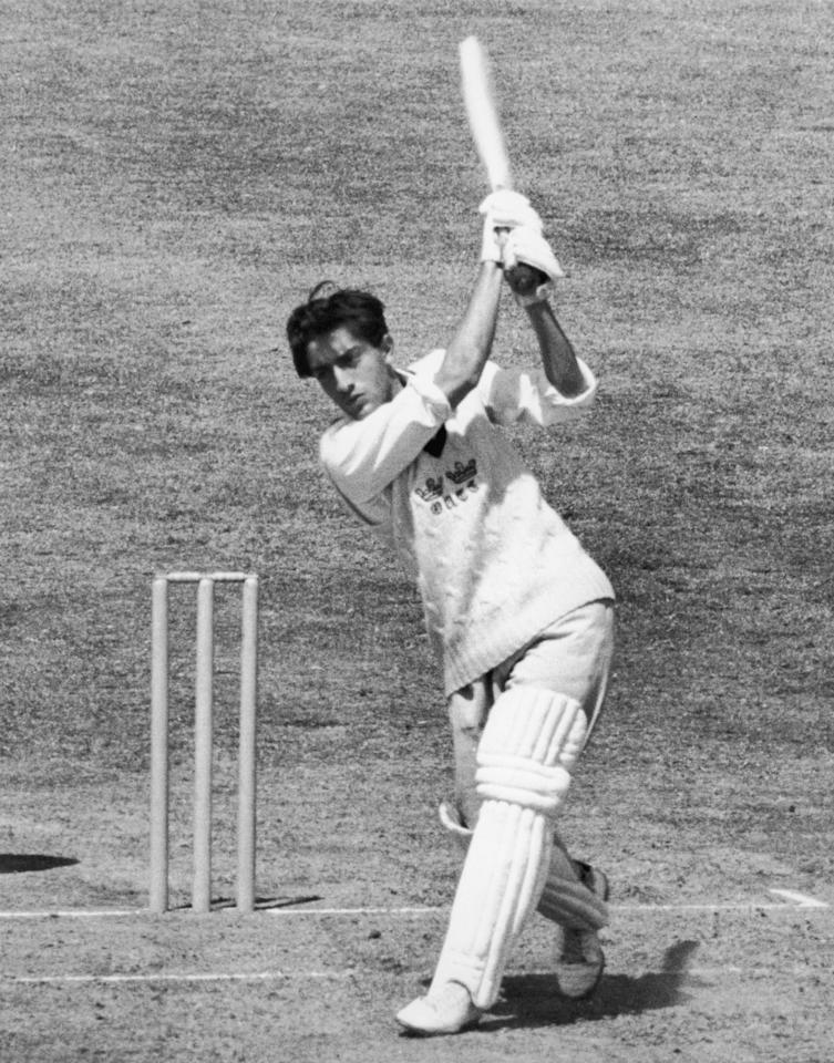 Indian cricketer Mansur Ali, the 9th Nawab of Pataudi and captain of the Oxford University team, bats for Oxford against Surrey at the Oval, June 1961. (Photo by Dennis Oulds/Central Press/Getty Images)