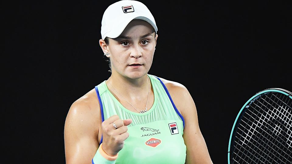 Ash Barty, pictured here in action at the Australian Open in January.