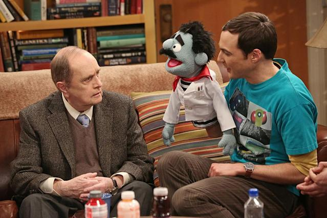 """""""The Proton Resurgence"""" -- Sheldon (Jim Parsons, right) and Leonard hire Professor Proton (Guest Star Bob Newhart, left), the host of their favorite childhood TV show, to perform, on THE BIG BANG THEORY, Thursday, May 2 (8:00 - 8:31 PM, ET/PT) on the CBS Television Network."""