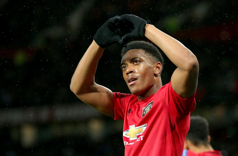 MANCHESTER, ENGLAND - NOVEMBER 07: Anthony Martial of Manchester United celebrates after scoring his team's second goal during the UEFA Europa League group L match between Manchester United and Partizan at Old Trafford on November 07, 2019 in Manchester, United Kingdom. (Photo by Alex Livesey/Getty Images)
