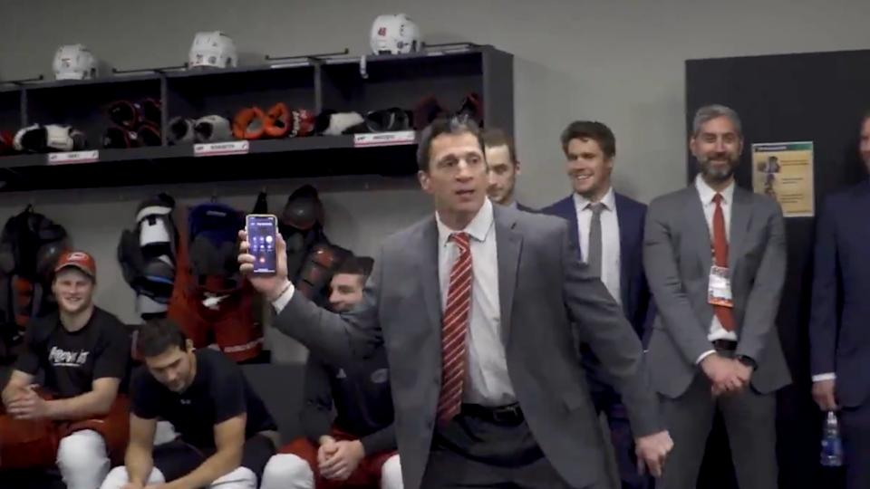 The Carolina Hurricanes serenaded their coach's dad with a hearty rendition of