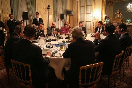 Belgian PM Michel attends a dinner with European Union leaders at Val Duchesse castle in Brussels