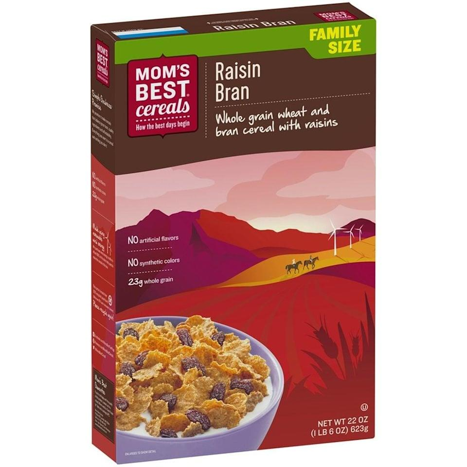 <p>If you're looking for a quick and filling breakfast, try <span>Mom's Best Raisin Bran</span> ($38 for a pack of 10). Made with ingredients like whole wheat, raisins, and wheat bran, one serving of this cereal will give you a whopping eight grams of fiber - meeting approximately 30 percent of your daily needs before you've even finished your first cup of coffee.</p>
