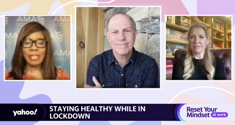"(From left to right) American Medical Association President Patrice Harris, Yahoo Finance Editor-in-Chief Andy Serwer, and WW CEO Mindy Grossman appear on ""Reset Your Mindset at Work,"" a special made in partnership between Yahoo! and Fortune."