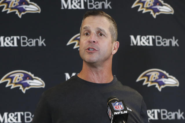 Baltimore Ravens head coach John Harbaugh meets with reporters after a overtime win over the Pittsburgh Steelers in an NFL football game in Pittsburgh, Sunday, Oct. 6, 2019. (AP Photo/Gene J. Puskar)