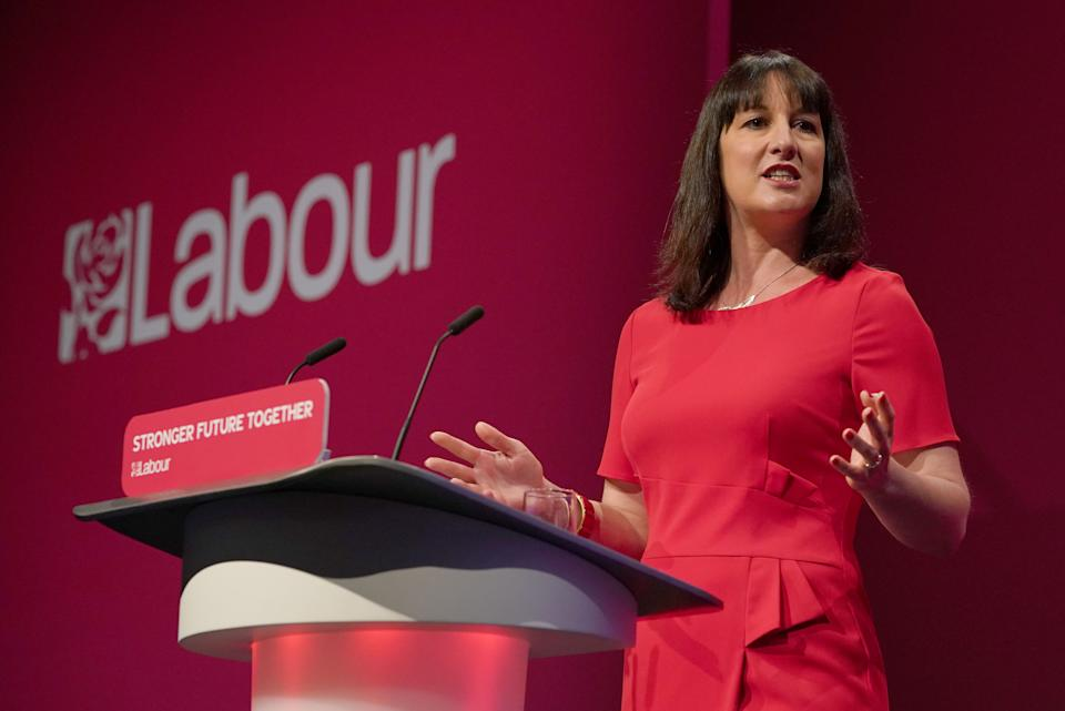 Shadow chancellor Rachel Reeves giving her keynote speech at the Labour Party conference at the Brighton Centre. Picture date: Monday September 27, 2021.