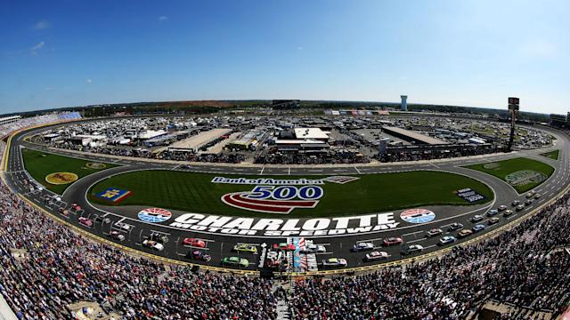 The start time at Charlotte Motor Speedway has been moved from 2:00 p.m. ET up to 1:00 p.m. ET due to the threat of inclement weather.