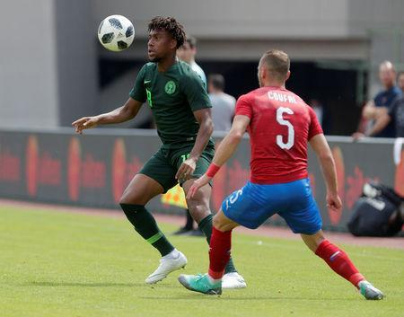 Soccer Football - International Friendly - Czech Republic vs Nigeria - Rudolf-Tonn-Stadion, Schwechat, Austria - June 6, 2018 Nigeria's Alex Iwobi in action with Czech Republic's Vladimir Coufal REUTERS/Heinz-Peter Bader