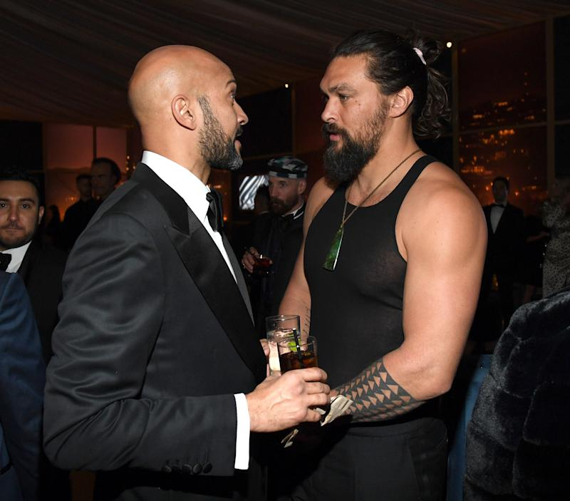 Jason Momoa at the 77th Annual Golden Globe wearing a tank top in January, 2020.