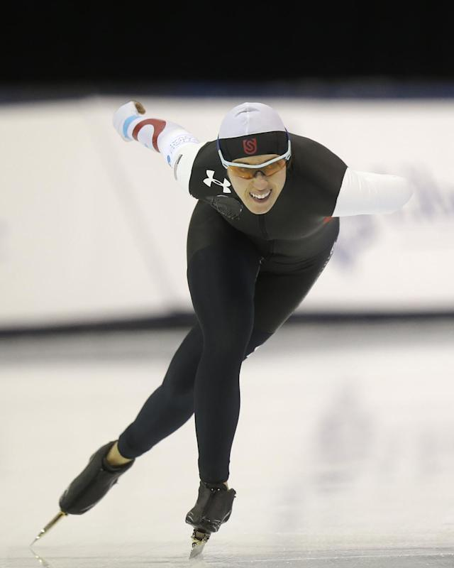 Anna Ringsred competes in the women's 3,000-meter during the U.S. Olympic speedskating trials on Friday, Dec. 27, 2013, in Kearns, Utah. Ringsred came in second place. (AP Photo/Rick Bowmer)