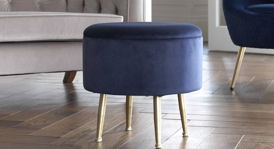 Argos is selling this luxury-looking velvet footstool for only £10. (Argos)