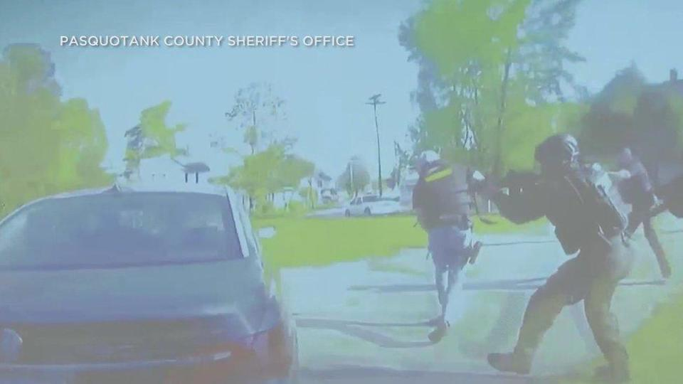 Still from police video footage of the shooting dead of Andrew Brown in North Carolina