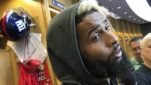 "The fifth Sunday of the 2018 season ended up being dominated by <a class=""link rapid-noclick-resp"" href=""/nfl/players/27540/"" data-ylk=""slk:Odell Beckham Jr."">Odell Beckham Jr.</a>, thanks to a bizarre ESPN interview made more bizarre by the presence of Lil Wayne [AP]"