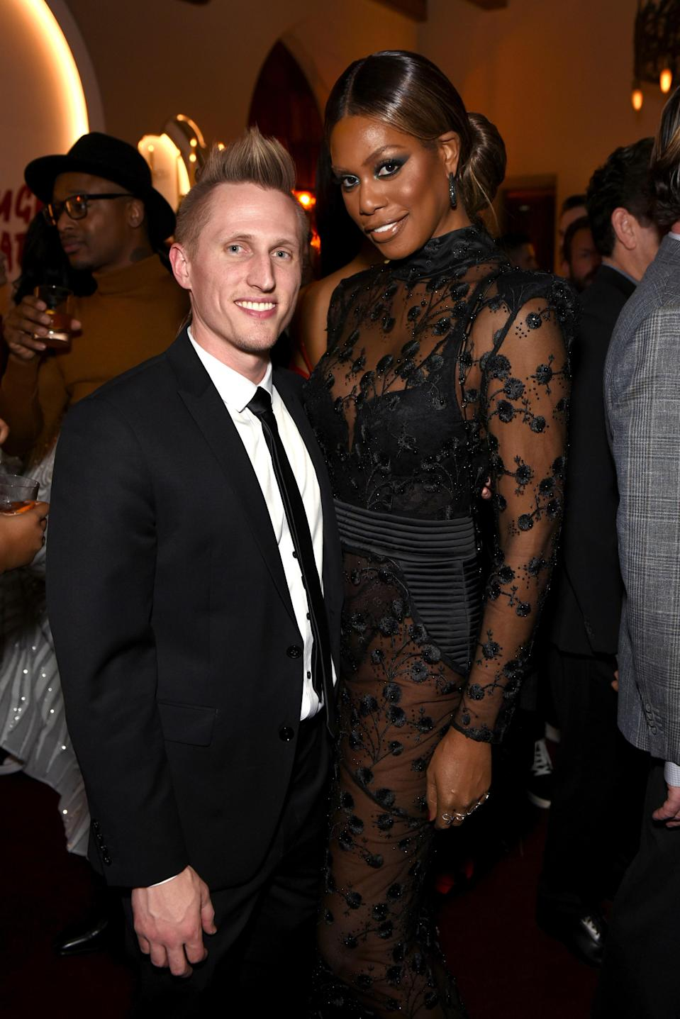 """Laverne Cox announced her split from boyfriend Kyle Draper in June in an emotional message on Instagram. """"After much soul searching and tears from both of us, we have decided it's time for us to go our separate ways,"""" the <em>Orange Is the New Black</em> star <a href=""""https://www.instagram.com/p/BzIMlkqgkQQ/?hl=en"""" rel=""""nofollow noopener"""" target=""""_blank"""" data-ylk=""""slk:wrote"""" class=""""link rapid-noclick-resp"""">wrote</a> on June 25. """"We decided we should make a public statement since our relationship was public in ways neither of us anticipated."""""""