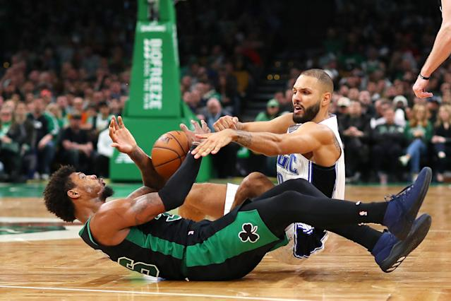 Celtics guard Marcus Smart went down with what was described as an oblique bruise. (Photo by Maddie Meyer/Getty Images)