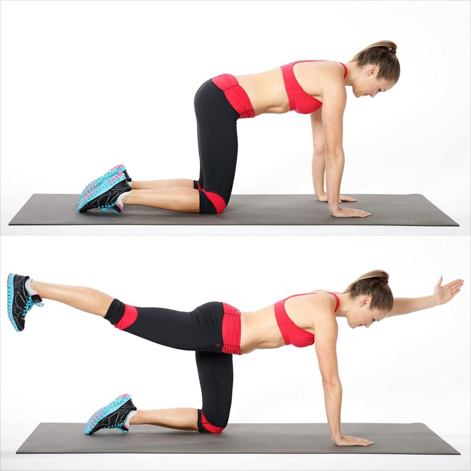 <ul> <li>Get on all fours, with your knees under your hips and your hands under your shoulders. Remember to keep abs engaged and keep your back flat.</li> <li>Reach out with your left hand and extend your right leg out behind you.</li> <li>Hold here for 60 seconds, keeping the core strong.</li> </ul>