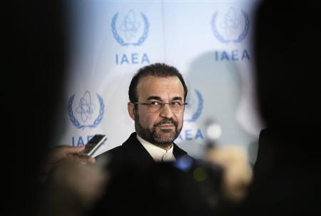 Iran's ambassador to the IAEA Najafi attends a news conference in Vienna
