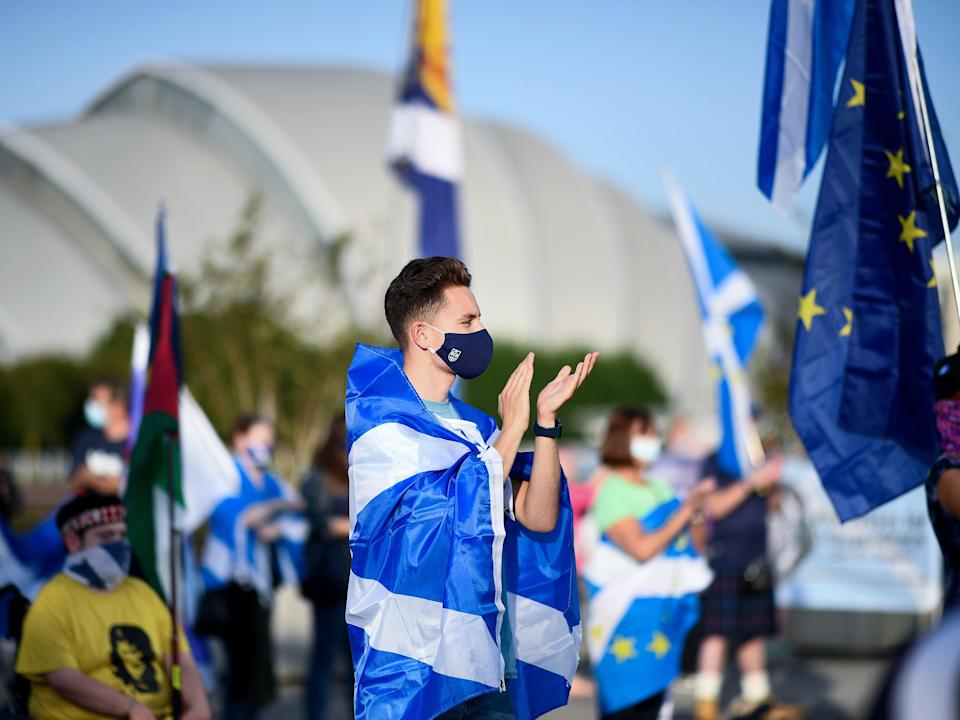 A socially distanced rally for Scottish independence in Glasgow, September 2020 (Getty Images)