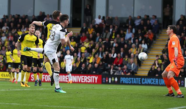"Soccer Football - Championship - Burton Albion vs Derby County - Pirelli Stadium, Burton-on-Trent, Britain - April 14, 2018 Derby County's David Nugent scores their first goal Action Images/John Clifton EDITORIAL USE ONLY. No use with unauthorized audio, video, data, fixture lists, club/league logos or ""live"" services. Online in-match use limited to 75 images, no video emulation. No use in betting, games or single club/league/player publications. Please contact your account representative for further details."
