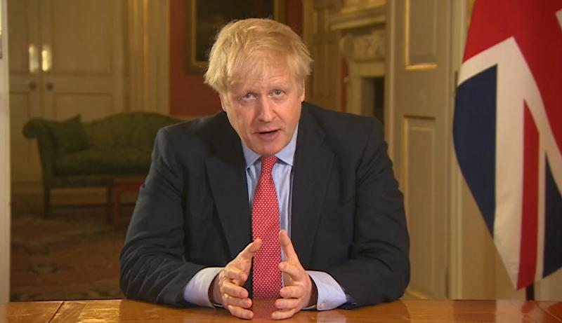 Screen grab of Prime Minister Boris Johnson addressing the nation from 10 Downing Street, London, as he placed the UK on lockdown as the Government seeks to stop the spread of coronavirus (COVID-19). (Photo by PA Video/PA Images via Getty Images)