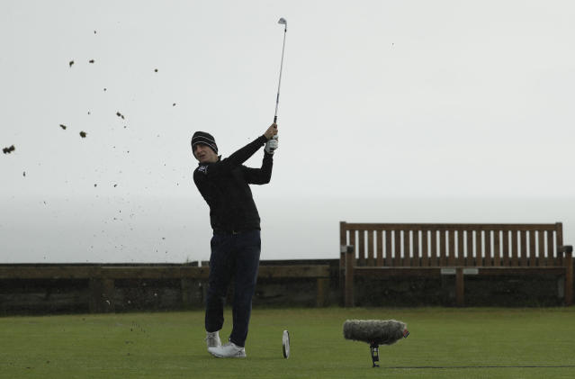Argentina's Emiliano Grillo plays his shot from the 6th tee during the first round of the British Open Golf Championships at Royal Portrush in Northern Ireland, Thursday, July 18, 2019.(AP Photo/Matt Dunham)