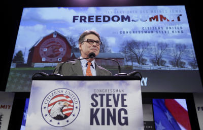 Former Texas Gov. Rick Perry speaks during the Freedom Summit, Saturday, Jan. 24, 2015, in Des Moines, Iowa. (AP Photo/Charlie Neibergall)
